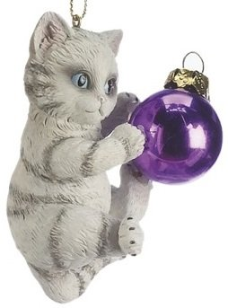 Kitten Playing with purple bulb Cat Christmas Tree Ornament