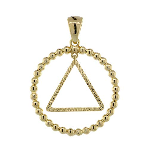 25mm AA Sobriety Charm Beaded Circle and Diamond Cut Movable Triangle in 14K Yellow Gold