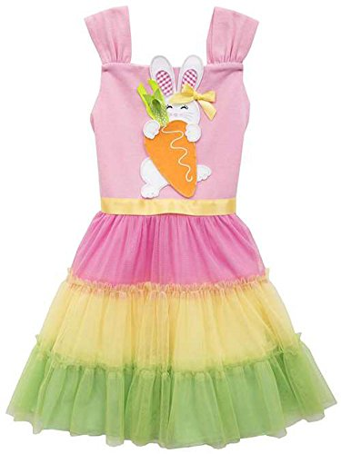 Girl 4t 4 Rare Editions (Rare Editions Little Girls Easter Bunny Color Block Dress (4T/4))