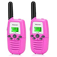 Adsoner Kids Walkie Talkies with Backlit LCD Display 22 Channels FRS/GMRS Two Way Radio Toys with Built-in Flashlight Long Range Walki Talki Set for Indoor Outdoor Activities - 2 Pack (Pink)