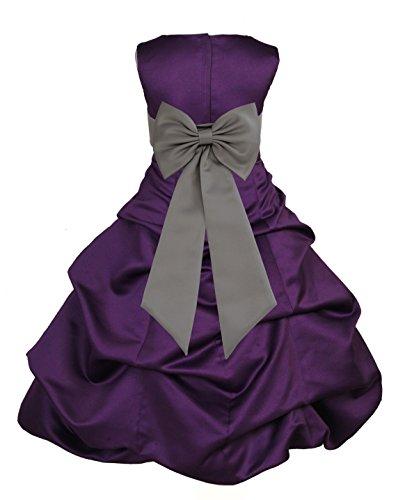 ekidsbridal Purple Satin Pick-Up Bubble Formal Junior Flower Girl Dress 808T 6