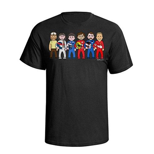 vipwees Formula 1 Legends Mens Cult Motor Sport F1 car Caricature Gift t Shirt ()