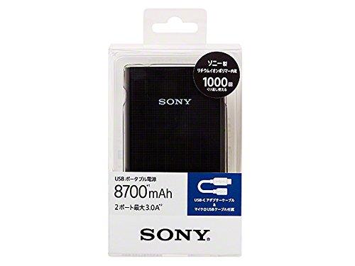 ソニー USBポータブル電源 (8,700mAh ブラック USB-typeCアダプターケーブル同梱) CP-E87CB