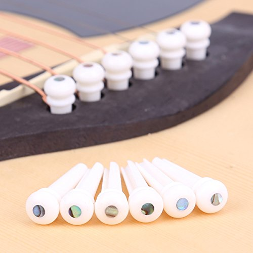 Bone Guitar End Pin - Cattle Bone Guitar Endpin with Abalone Dot Bridge End Pin for Acoustic Guitar