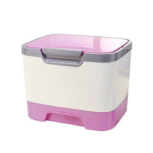 Garrelett Cosmetic Makeup Toiletry Organizer Large Capacity Plastic Medicine Box Desktop Storage Box with Mirror for Women Girls (Pink)