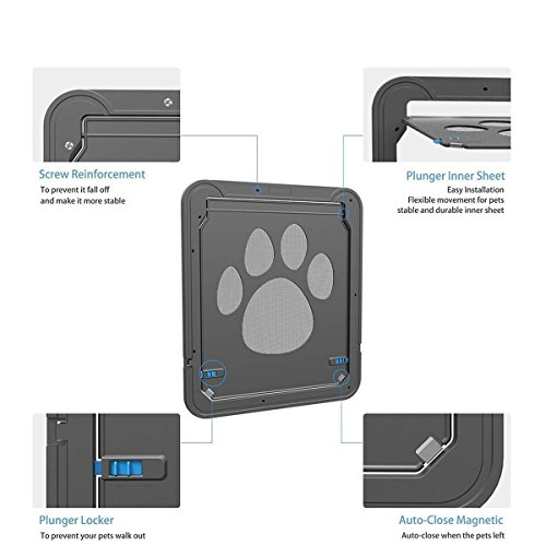 Modernlife Pet Screen Door, Magnetic Flap Screen Automatic Lockable Black Door Small Dog Cat Gate 10.2 x 8inch by Modernlife (Image #6)