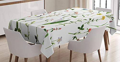 Petite Oval Green - Watercolor Flower Decor Tablecloth,Different Kind of Flowers and Herbs Weeds Plants Petite Earth Element Print,Waterproof tablecloths for Oval Tables,45W X 84.5L Inch Green Lavender