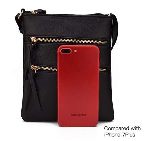 FairyBridal Triple Zipper Mutil-Pocket Leather Messenger Bag for Women,Crossbody Bag 5 Colors Satchel Purse (black(pu leather)) by FairyBridal (Image #5)
