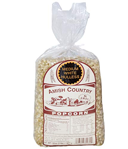 Amish Country Popcorn - Medium White Kernels (2 Pound Bag) Old Fashioned, Non GMO, and Gluten Free - with Recipe Guide (Best Way To Store Unpopped Popcorn)