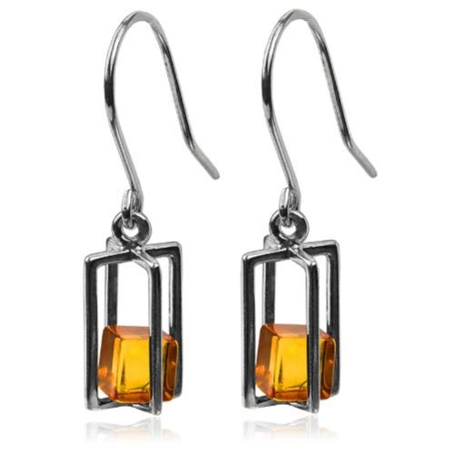 Amber Cubes Sterling Silver Millennium Collection Contemporary Rectangular Earrings
