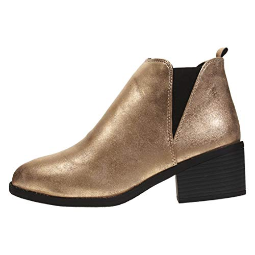Via Rosa Womens PU Chelsea Ankle Boots Shimmer Material Slip-On Fashion Shoes