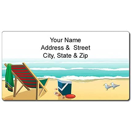 Beach Address Label - Customized Return Address Label - 90 Labels