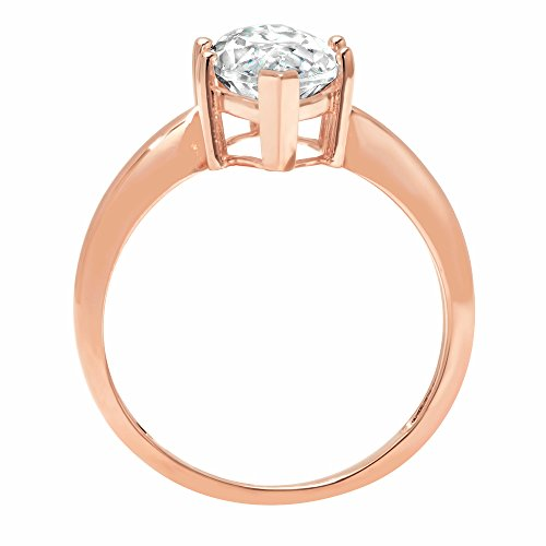 2.5ct Marquise Brilliant Cut Classic Solitaire Designer Wedding Bridal Statement Anniversary Engagement Promise Ring Solid 14k Rose Gold, 11 by Clara Pucci (Image #1)