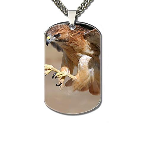Personalized Military Army Style Aluminum Dog Tag ID Pendant Necklace/Rectangle Dog Tag Keychain (Birds in Flight) ()