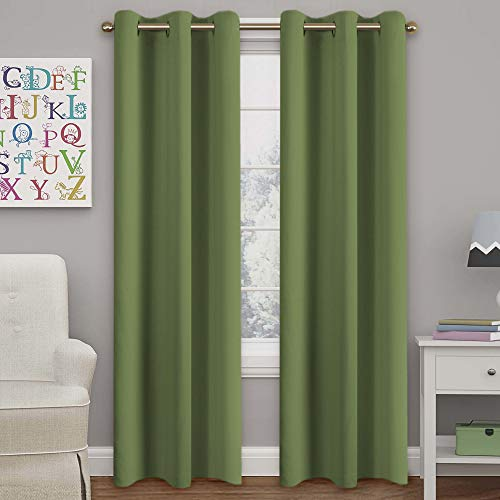 Blackout Curtains Panels for Bedroom - Three Pass Microfiber Noise Reducing Thermal Insulated Solid Ring Top Blackout Window Drapes (Two Panels, 42 x 84 Inch, Sage)