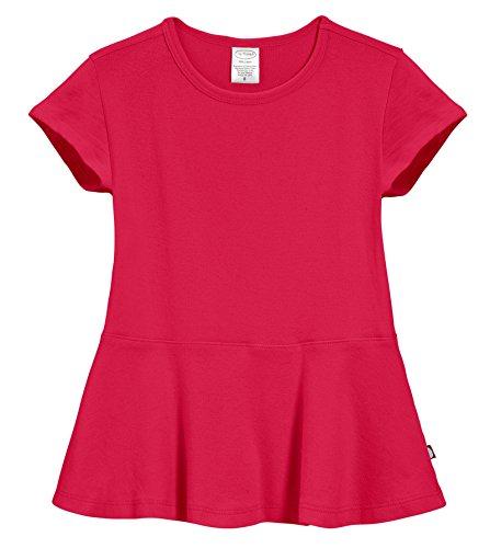 City Threads Big Girls' Cotton Short Sleeve Peplum Top Blouse Shirt For Summer Play School Parties Stylish SPD Sensory Friendly, Candy Apple, 14]()
