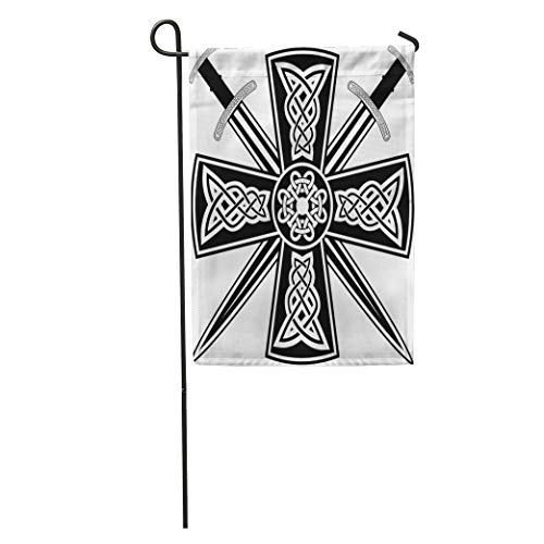 Semtomn Garden Flag Pagan Celtic Cross The Crossed Swords Knot Medieval Tribal Ancient Home Yard House Decor Barnner Outdoor Stand 12x18 Inches Flag