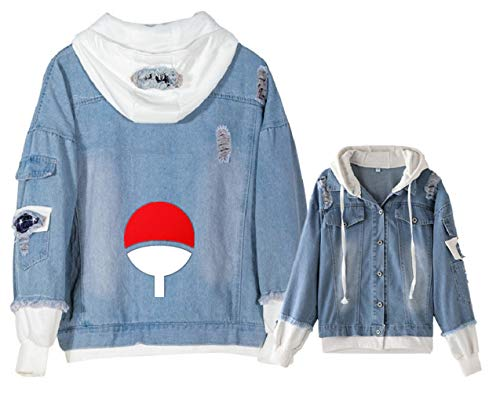 YOYOSHome Anime Naruto Denim Jacket Hoodie Sweatshirt Hooded Adult Cosplay Costume (Anime Jeans Men)