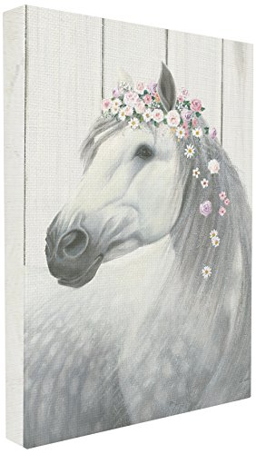 Spirit Canvas Art - The Stupell Home Decor Collection Stupell Industries Spirit Stallion Horse with Flower Crown XXL Stretched Canvas Wall Art, Proudly Made in USA