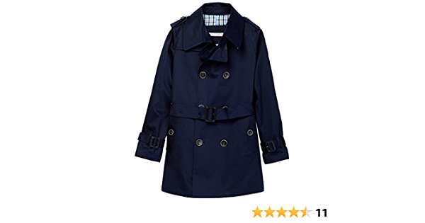 Isaac Mizrahi Boy's Double Breasted Belted Trench Coat-Raincoat With Epaulettes