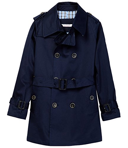 - Isaac Mizrahi Boy's JK1002 Double Breasted Belted Raincoat with Epaulettes Navy - 16