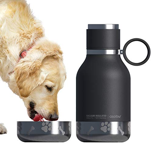 Asobu Dog – Pet Bowl Attached to Stainless Steel Insulated Travel Water Bottle 33 Ounce (Black)
