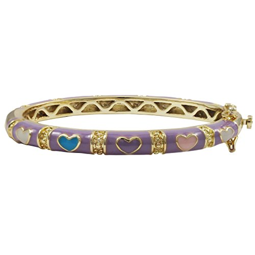 Ivy and Max Gold Finish Lavender Enamel Multi Hearts Girls Bangle Bracelet (42 mm: Age 1-6 Years)