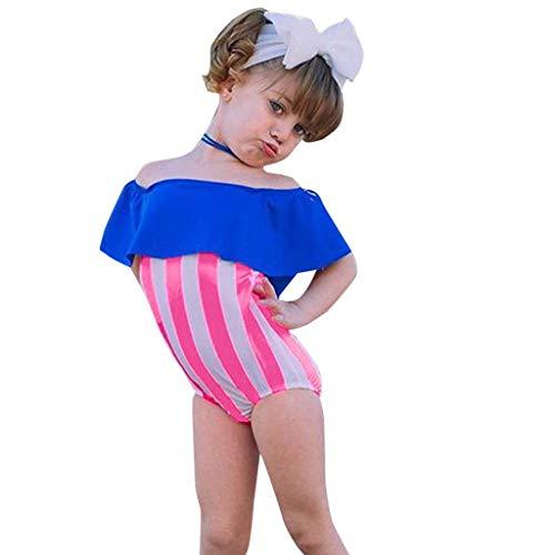 Hunputa One Piece Swimsuits for Girls, Stripe Printing Ruffle Swimwear Bathing Suit for ()