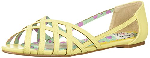 Bettie Page Women's Bp100-Carren Flat Sandal Yellow WS67F