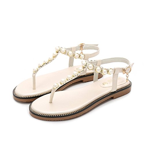 Sándwich Sandalias Planas De Verano Femenino Perla Toe Dama Calzado De Playa Blanco leche