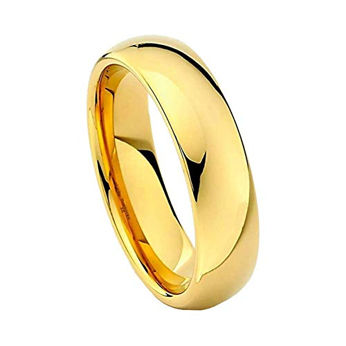 FORZIANI Solid Tungsten Band Ring for Men - 6mm 24K Gold Plated High Polished Comfort Fit Domed Men's Wedding Band - Size - Tungsten Ring Solid