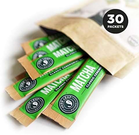 Jade Leaf Matcha Green Tea Powder - Ceremonial Single Serve Stick Packs - USDA Organic, Authentic Japanese Origin - Antioxidants, Energy [30 Count]