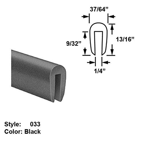 Neoprene Rubber U-Channel Push-On Trim, Style 033 - Ht. 13/16'' x Wd. 37/64'' - Black - 25 ft long by Gordon Glass Co.