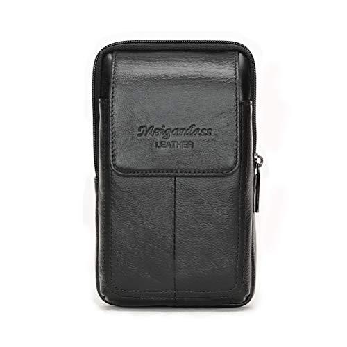 Meigardass スマートフォン ウェストポーチ iPhone8/7Plus iphone 6S Plus iphone7 スマートフォン収納ポーチメンズ 本革 Sony XperiaZ5/Z4、Sony Xperia XZs 5.5インチまで収納可能 縦向き ベルトループ カラビナ付き 持ち運びに便利 多機能 撥水 (ブラック)