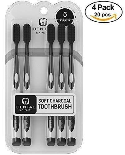 Value Pack Regular Head Toothbrush - 20 Pack Charcoal Toothbrush [GENTLE SOFT] Slim Teeth Head Whitening Brush for Adults & Children - Ultra Soft Medium Tip Bristles