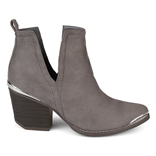 Metal Heel Boots (Brinley Co Womens Faux Suede Stacked Wood Heel Metal Detail Side Slit Booties Grey, 8 Regular US)