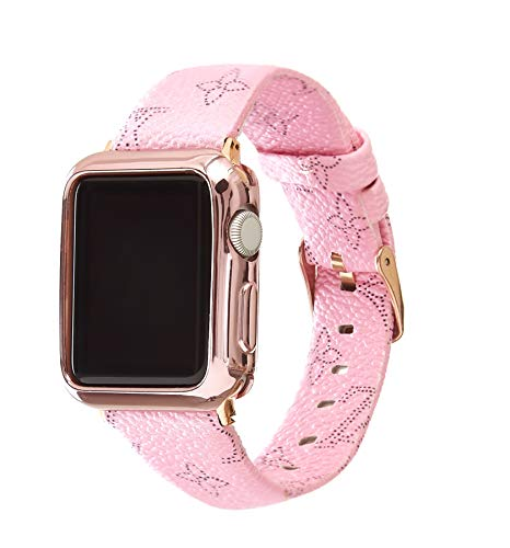 - for Apple iWatch Series 4 3 2 1 42mm Leather Replacement Wristband Fashion Plaid Style Strap Wrist Band with Metal Adapter Womens Men (Pink 42mm)