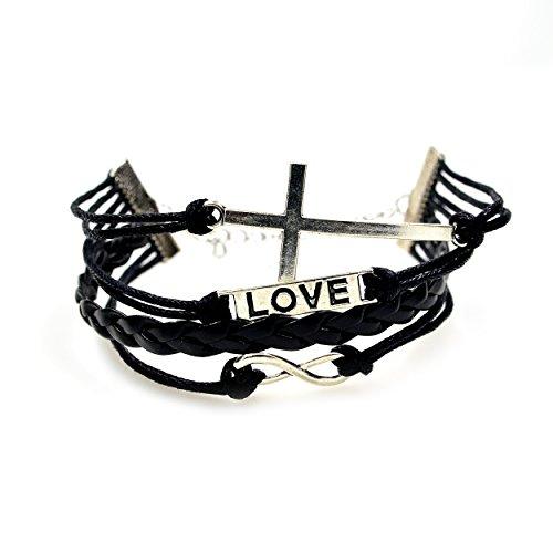 caetler-vintage-silver-cross-bracelet-infinity-love-black-leather-rope-infinite-bangle