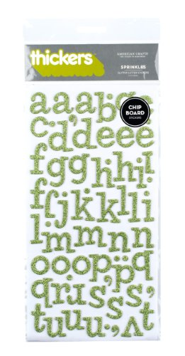 American Crafts Thickers Glitter Chipboard Letter Stickers, Sprinkles Cucumber