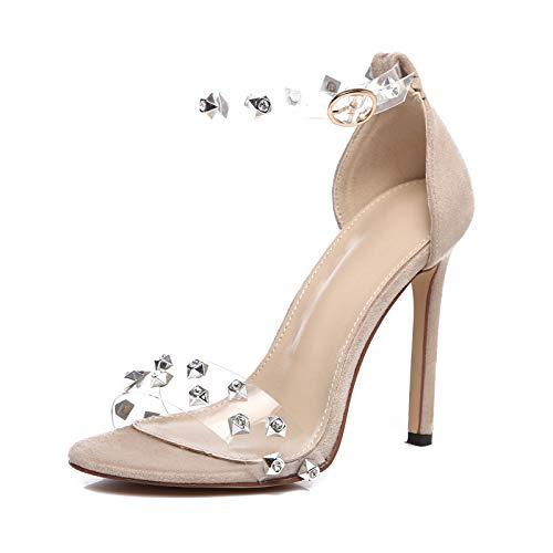 42 Alto Transparente Zapatos Sandalia Desnudo Grande Tacón Mujer Cristal Sandalias Tamaño Boda 6 Negro 5 Urtjsdg De Feminina ZdRw0qFR