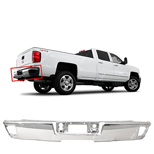 MBI AUTO - Steel Chrome, Rear Step Bumper Face Bar for 2014 2015 2016 2017 2018 Chevy Silverado & GMC Sierra, GM1102558 (Silverado Chevy Rear Bumper)