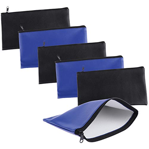Xgood 6 Pieces Bank Deposit Money Bag Leatherette Securit Vinyl Zipper Pouches Wallet Utility Zipper Coin Bags for Cash Money, 11x6in (Black+Blue)]()