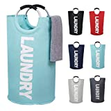 82L Large Laundry Basket Collapsible Fabric Laundry Hamper Tall Foldable Laundry Bag Handles Waterproof Portable Washing Bin Folding Clothes Bag Travel Shopping Bathroom College (Light Blue,L)
