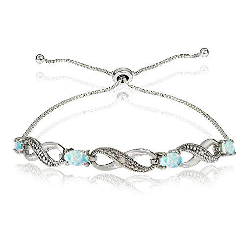 GemStar USA Sterling Silver Created White Opal Figure 8 Infinity Adjustable Bolo Bracelet