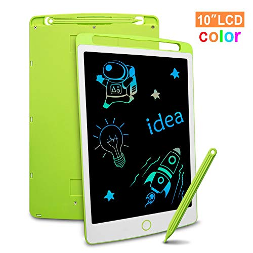 LCD Writing Tablet, Richgv 10 Inch Colorful Update Digital Electronic Graphics Tablet Ewriter with Anti Screen Lock Mini Board Handwriting Pad Suitable for Kids and Adults(2 Battery)