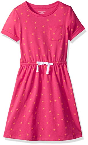 Amazon Essentials Toddler Girls' Short-Sleeve Elastic Waist T-Shirt Dress, Raspberry Sorbet/Muskmelon Mixed Star with White Bow, - Star Toddler T-shirt