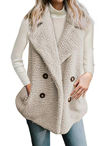 CILKOO Womens Coats Winter Cozy Warm Casual Oversized Cardigans Sleeveless Lapel Open Front Fuzzy Vest Coat with Pockets Sweater Fluffy Outerwear Apricot US18-20 XX-Large
