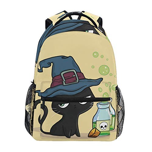 Fashion School Backpack for Girls Boys Causul Daypack Travel College Bookbag for Women & Men Halloween Cat Witch Print Schoolbag ()
