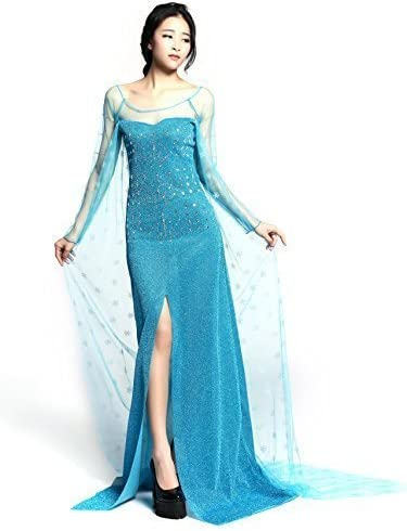 NNDOLL Adulto Elsa Princess Costume Long Dress for Frozen Disguise ...