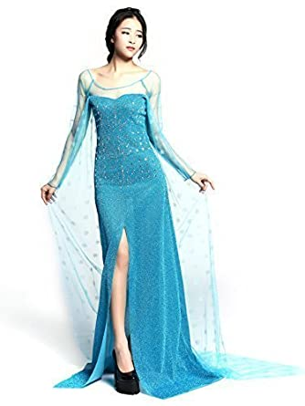 Adulto Elsa Princess Costume Long Dress for Frozen Disguise para Mujeres Disfraz elegante Disfraz FD2